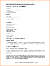 Parts Of A Resume Example Restaurantiness Plan Parts Of Resume Sample Restaurant 73