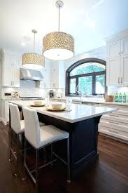drum pendant lighting kitchen transitional with arched window bar stools custom over island