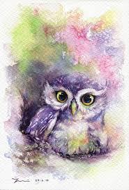 PRINT Rainbow Owl Watercolor painting x by Wayside Boutique - Yui