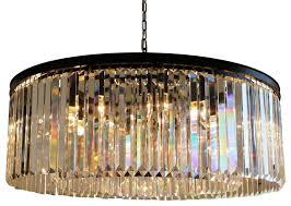 12 light round clear glass fringe crystal prism chandelier clear glass