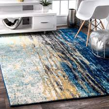selected com area rugs nuloom modern abstract vintage blue rug 5 x 7