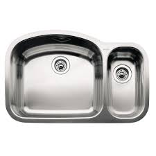 blanco wave undermount stainless steel 32 in 1 1 2 double bowl kitchen sink 440246 the home depot