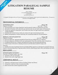 litigation paralegal resume sample resumecompanioncom paralegal resume examples