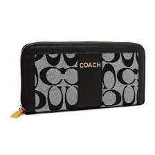 New Arrival Coach Legacy Accordion Zip Large Black Grey Wallets ETQ online  clearance sale