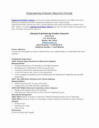 Sample Resume Objectives Sample Resume Mechanical Engineer Fresher New Sample Resume 84
