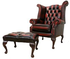 chesterfield queen anne high back wing chair oxblood leather footstool