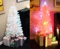 Pre Lit Christmas Tree With Colored And White Lights 6 Ft White Pre Lit Multi Color Led Fiber Optic Christmas