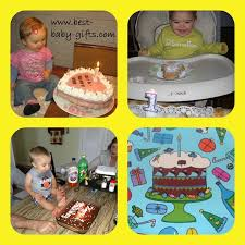 4 separate photos 3 es sitting in front of a cake and celebrating their first celebrating 1st birthdays