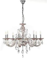 onli emma chandelier 8 lights in crystal glass with chrome detailing champagne and chrome