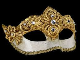 ball mask. madam macrame luxury masquerade ball mask - gold n