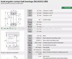 Angular Contact Ball Bearing Size Chart Angular Contact Bearing Balls Zkln2052 2rs Size Chart 20 52 28mm View Bearing Balls Shr Product Details From Shanghai Shengyue Bearing Co Ltd On