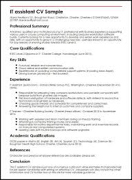 Curriculum Vitae Sample Inspiration IT Assistant CV Sample MyperfectCV