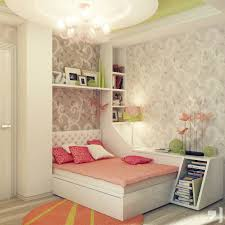 bedroom modern little girls bedroom design with white wooden bed frame combined with wall bookshelf