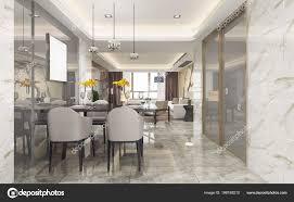 Rendering Moderne Esszimmer Und Wohnzimmer Mit Luxus