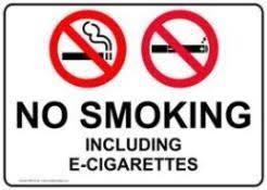 electronic cigarettes no smoke org sign reading no smoking including e cigarettes