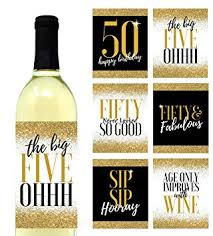 Wine Bottle Stickers Amazon Com 6 Premium 50th Birthday Wine Bottle Labels Or Stickers