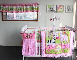 zebra giraffe monkey anmial embroidery girl baby bedding