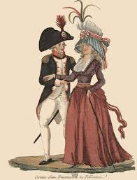 best n french revolution images french man is wearing a cut away jacket supporting the french revolution red white and blue the headdress on both men and women were more of sartorial