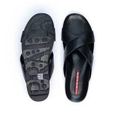 prada black leather criss cross sandals