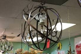 ceiling light metal strap globe hanging light industrial