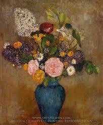 blue vase of flowers painting reion odilon redon