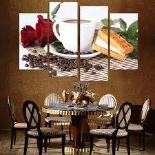 2017 Brand designed Coffee shop decoration Painting Artwork Beans 4Panels  Wall Art Picture unframed Time Limited