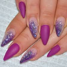 Purple And Glitter Stiletto Nail Art Návody Nägel Fingernägel A