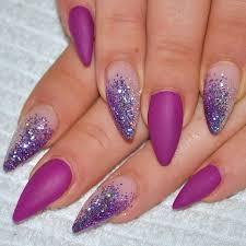 Purple And Glitter Stiletto Nail Art Návody Nägel Fingernägel A
