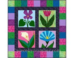 Paper Piecing Flower Morning In May 4 Paper Pieced Flower Quilt Block Patterns Etsy