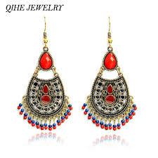red chandelier earring vintage chandelier earrings red stone beads hanging statement earring bohemian style jewelry earrings