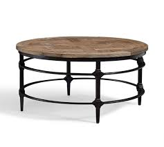coffee tables reclaimed wood round table rustic square iron media nl parquet pottery barn metal low black natural