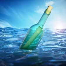 letter in a bottle message in a bottle floating on sea level 3d illustration stock