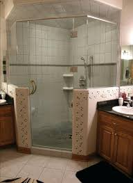 half wall shower angle w half walls inch clear glass chrome hardware with header installed in half wall shower