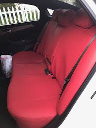 2018 hyundai sonata custom rear bench seat covers in leatherette red and double stitching