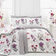 colourful flower bouquets duvet cover set reversible pink