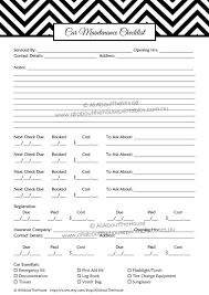 Car Maintenance Checklist Printable Planner Household Home