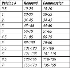 40 Unbiased Pro Shock Valving Chart