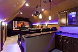 Home Theater Seating Led Lighting Custom Home Theater With Built In Bar Area Behind Seats And