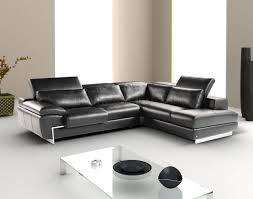black full leather modern sectional sofa wadjustable headrest