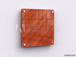 Office Name Plate Template Blank Shiny Wooden Interior Office Corporate Signage Plate Mock Up