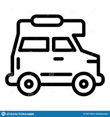 Car Outline Design Cruiser Car Line Icon Travel Van Vector Illustration