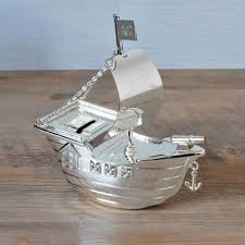 silver personalised pirate ship money box