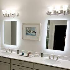 Side Lighted Led Bathroom Vanity Mirror 28 X 36 Rectangular Mirrors Marble