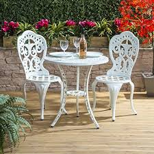 white iron garden furniture. Traditional Cast Aluminium Cafe Bistro Outdoor Garden Furniture Table \u0026 Chairs Set - White Iron
