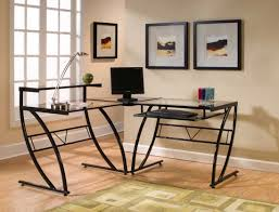 modern corner desks for home office with glass top and metal legs