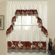3 pc savory chef kitchen curtains tier and valance set long