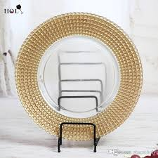 2018 holy glass plate whole gold ridged rimmed clear glass charger plates for wedding events and kitchen from shanxiholy 3 52 dhgate com