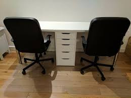 office desk for 2. 2-person Office Desk With Matching Drawer (IKEA Alex) \u0026Office Chairs For 2