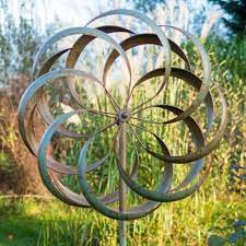 large metal garden wind spinner