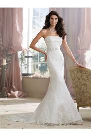 fitted mermaid strapless lace beaded wedding dress with crystals